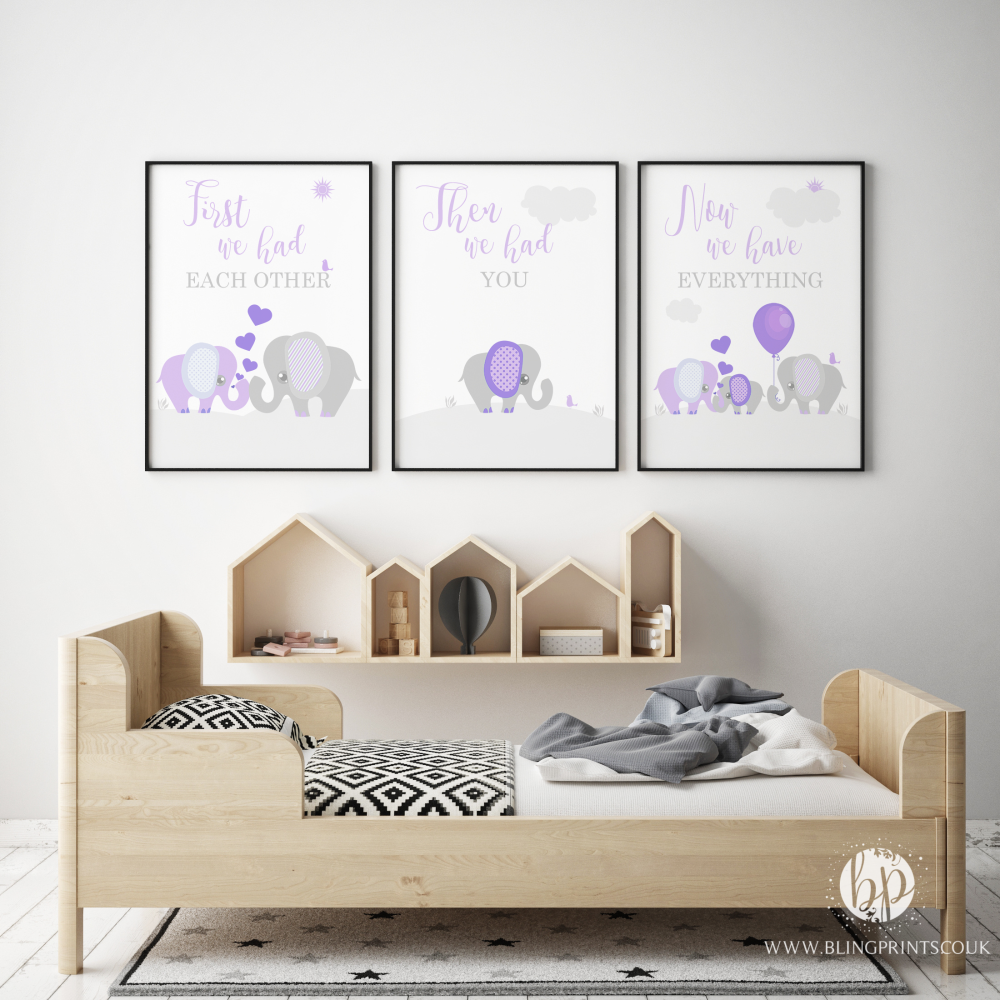 Set of 3 First We Had Each other Elephant Nursery Prints Lilac