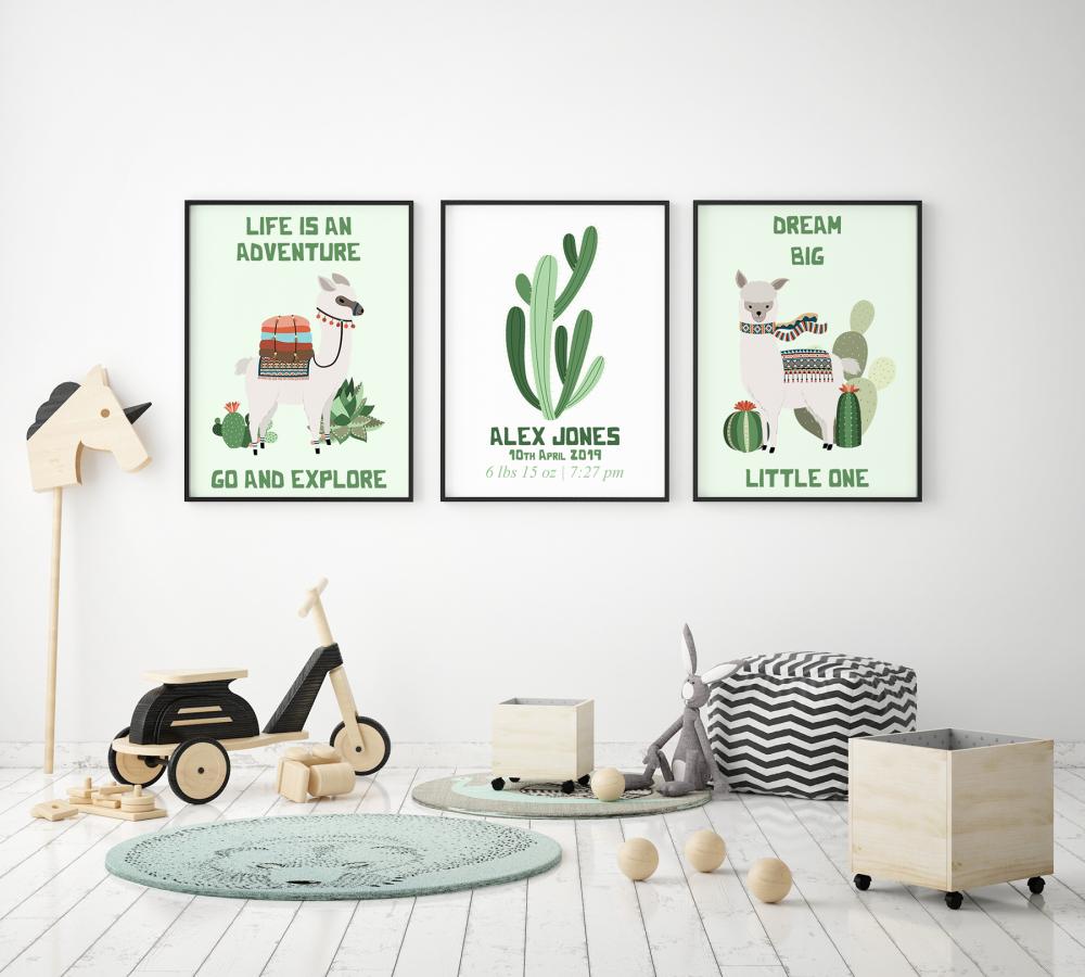 Set of 3 Llama & Cactus Nursery Prints