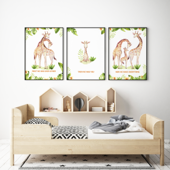 Set of 3 First We Had Each other Giraffe Nursery Prints