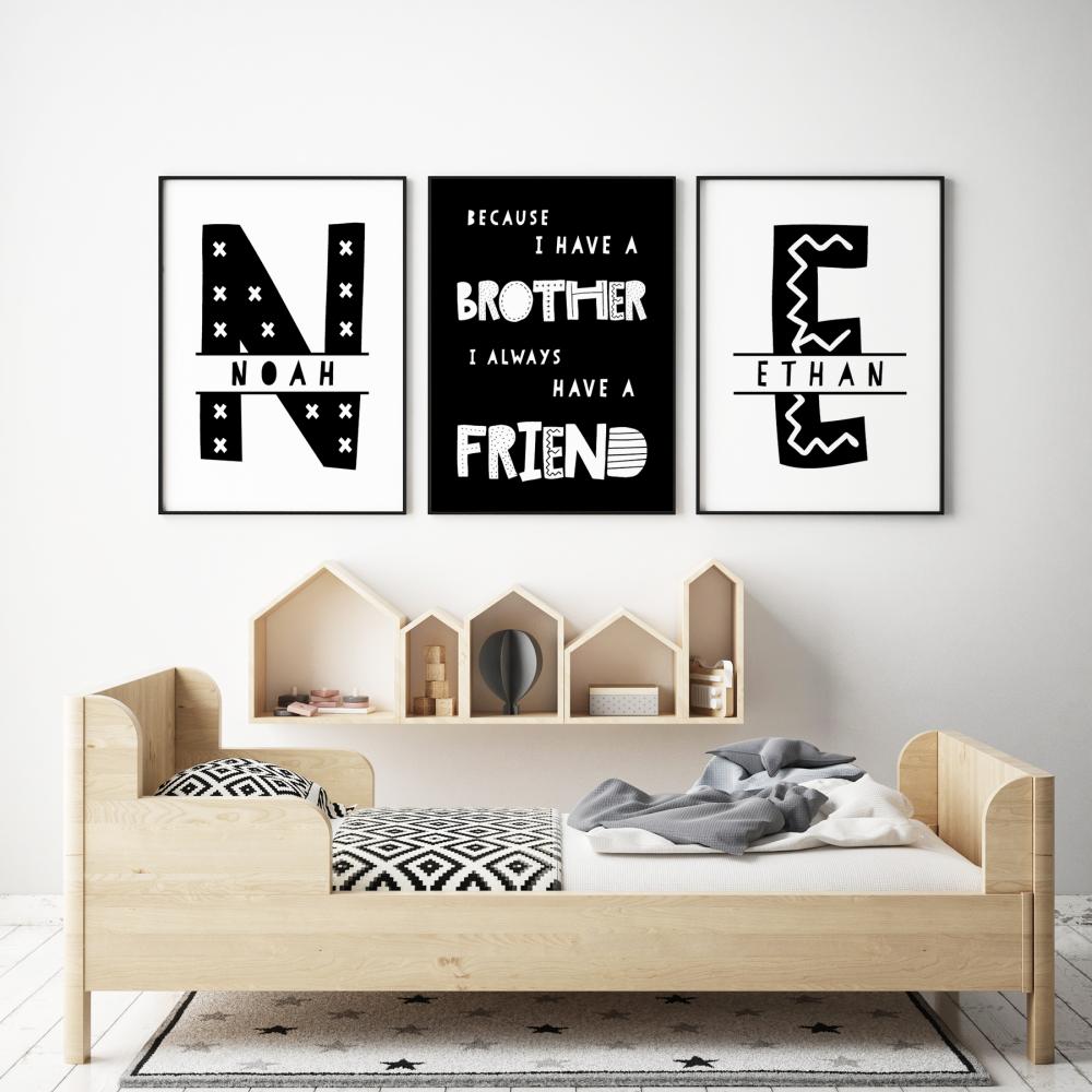 Set of 3, Brothers Nursery Prints