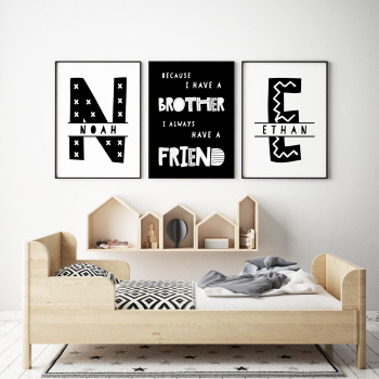 Set of 3, Brothers Nursery Prints