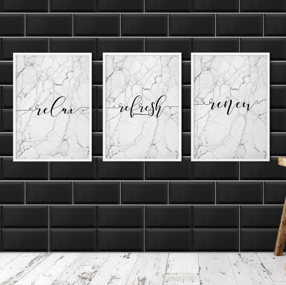 Set of 3 marble Bathroom prints