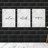 Set of 3 marble Bathroom prints