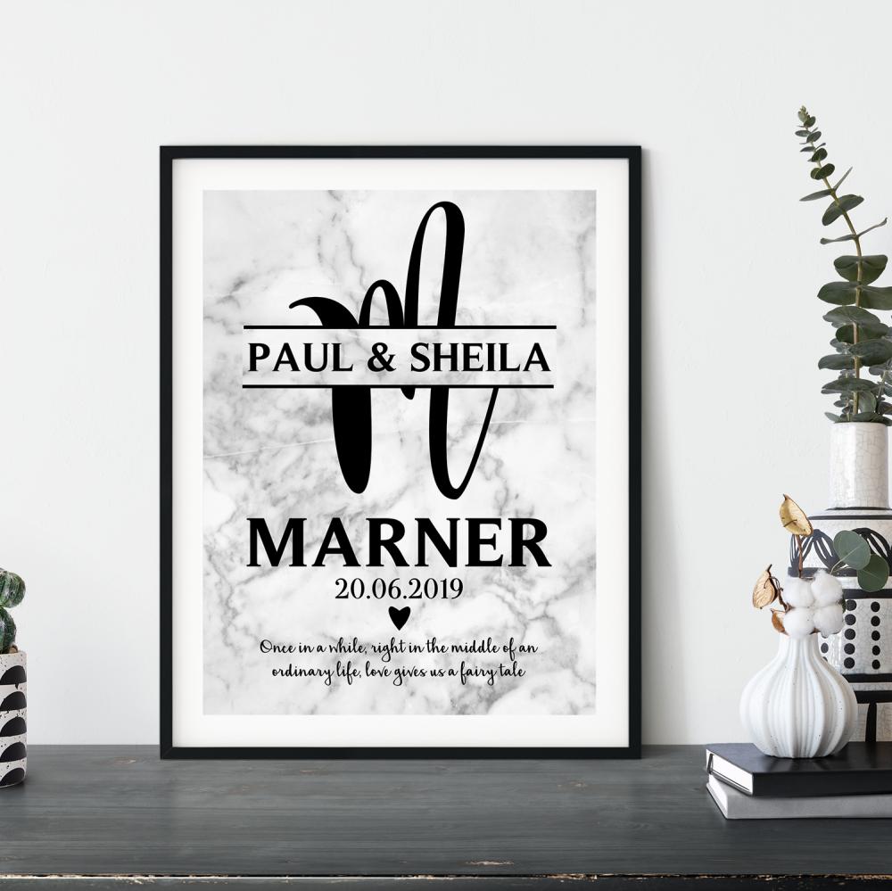 Wedding Monogram Marble print