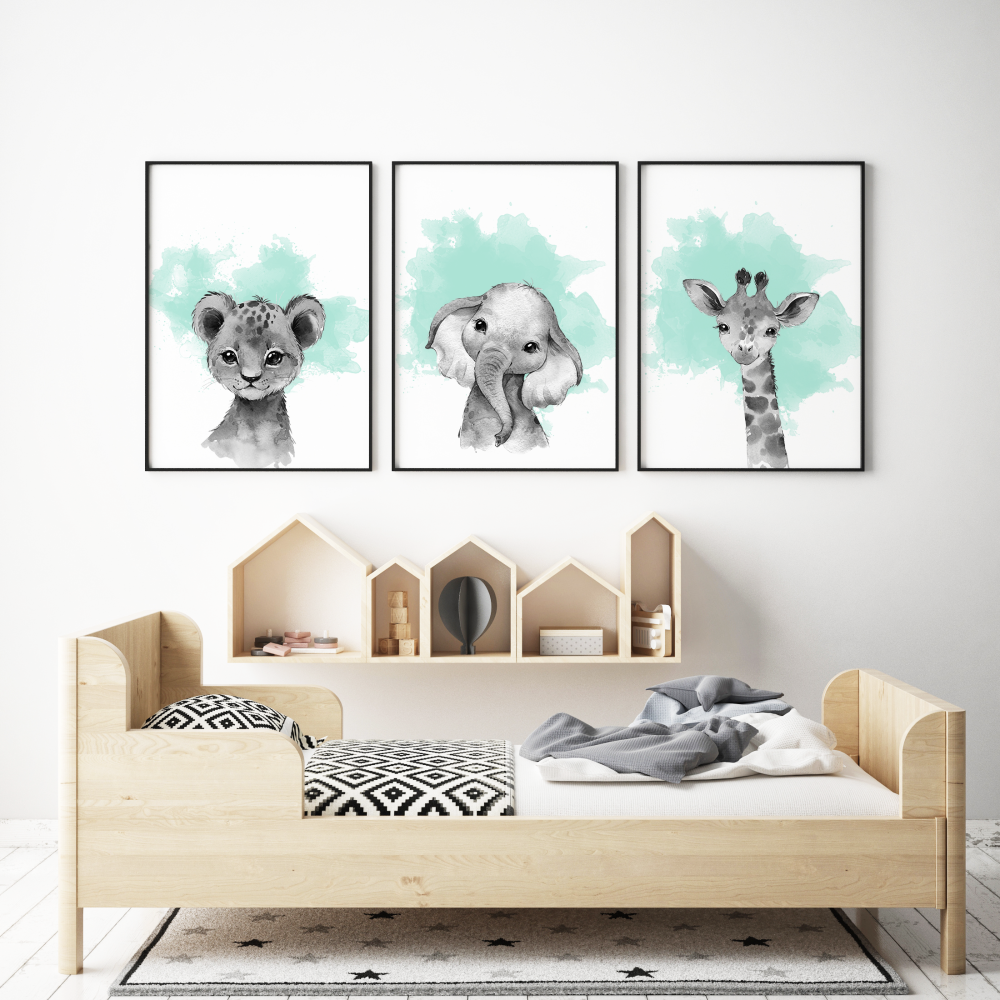 3pc Mint and Grey Safari Animals Prints