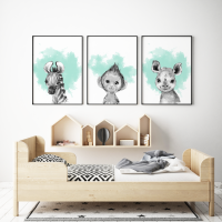3pc Mint and Grey Jungle Animals Prints