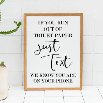 Just Text Bathroom Print
