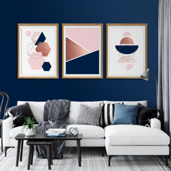 3pc Navy Pink Wall Art Set
