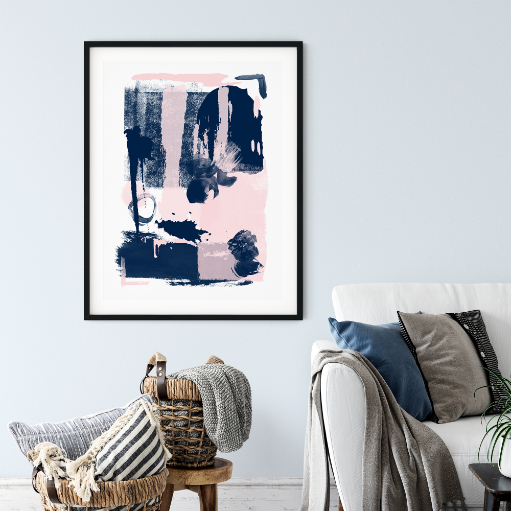 Abstract Navy Pink Print