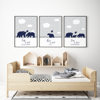 Set of 3 First We Had Each other Navy Bears Prints