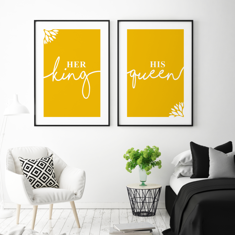 2pc Her King His Queen Mustard Prints
