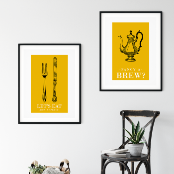 2pc Retro Yellow Kitchen Prints