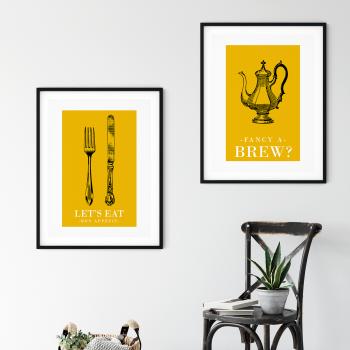 2pc Retro Yellow Kitchen Prints