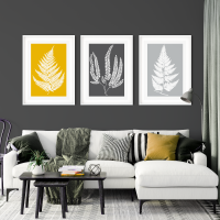3pc Fern Leaf Mustard and Grey Prints