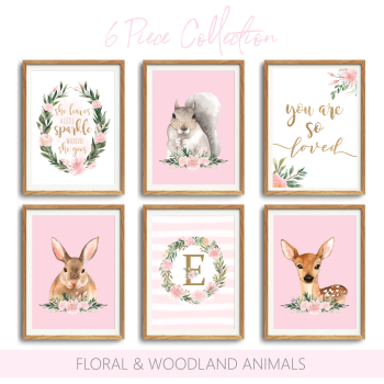 Woodland Floral Nursery 6pc Print set