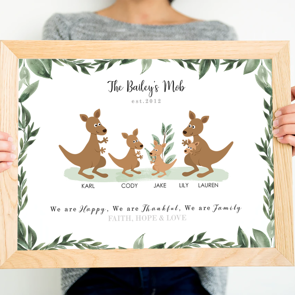 Kangaroo Family Print