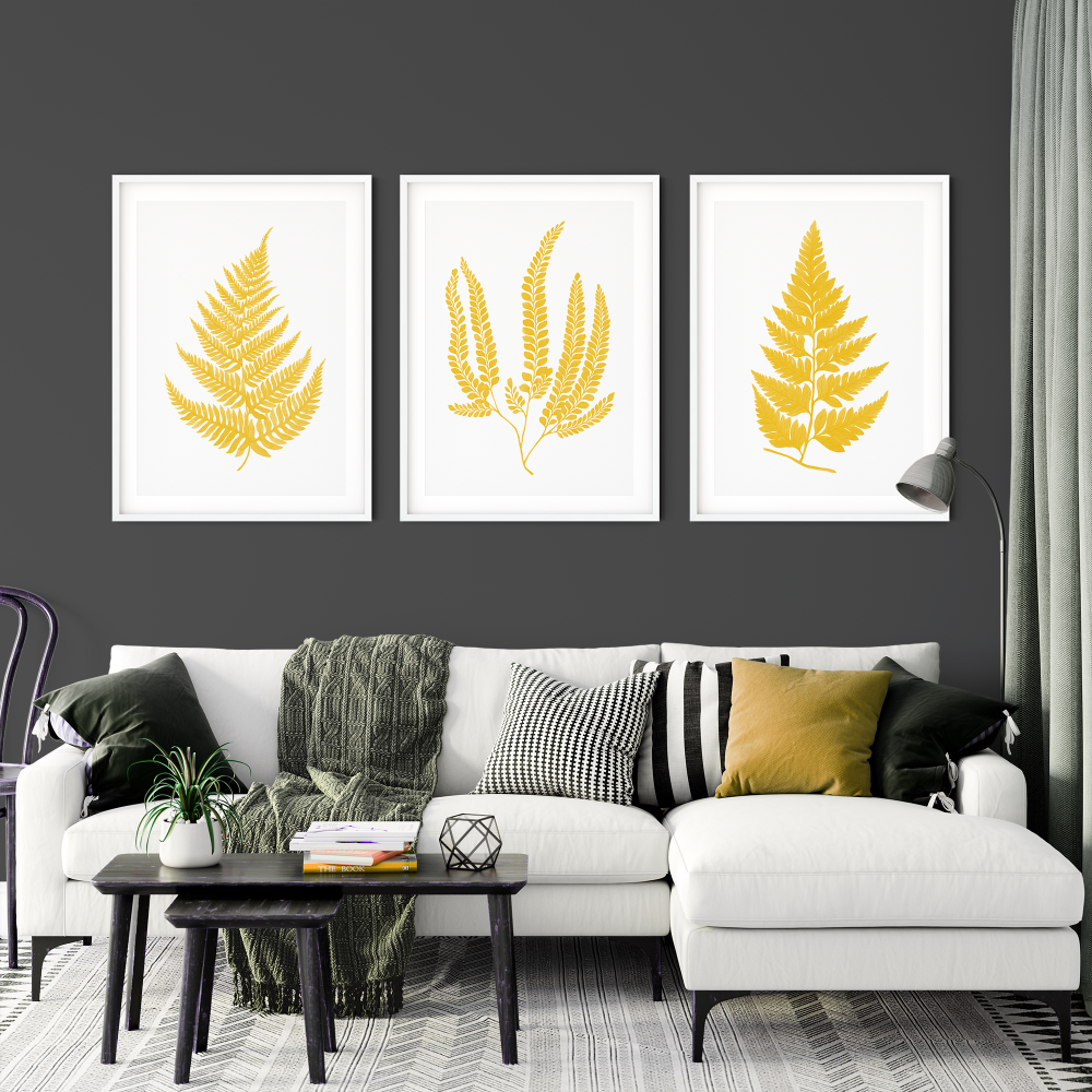 3pc Fern Leaf Mustard Prints