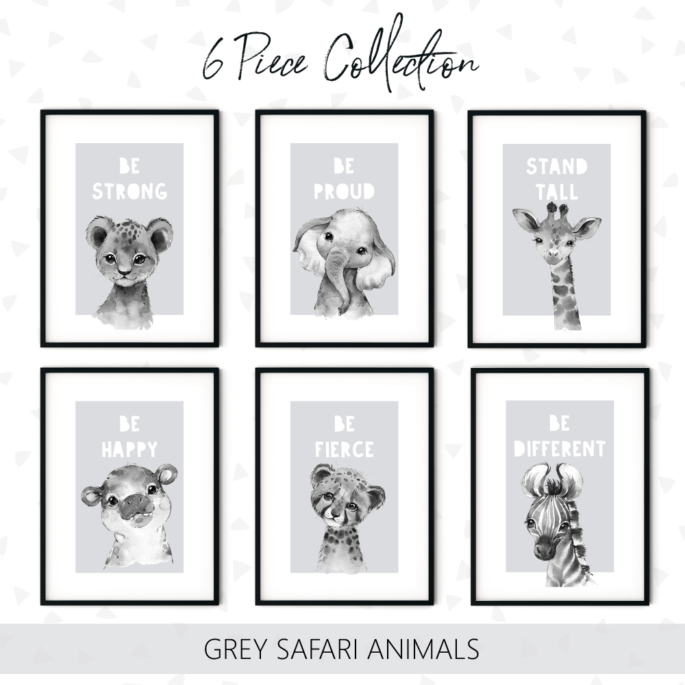 6pc Grey Safari Animals Print Collection