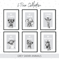 6pc Grey Jungle Nursery animals