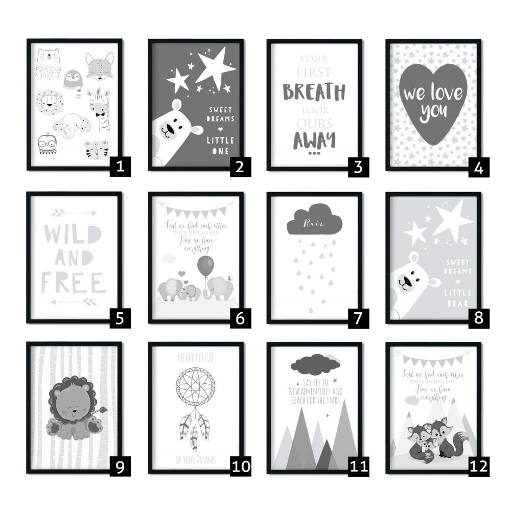 Mix and Match Grey Nursery Prints