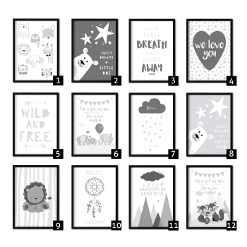 Mix and Match Grey Nursery Prints