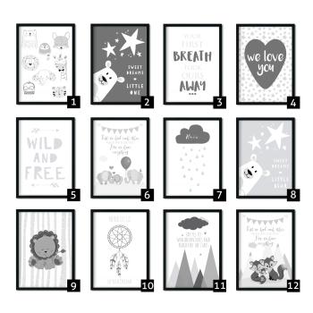Grey Nursery Prints