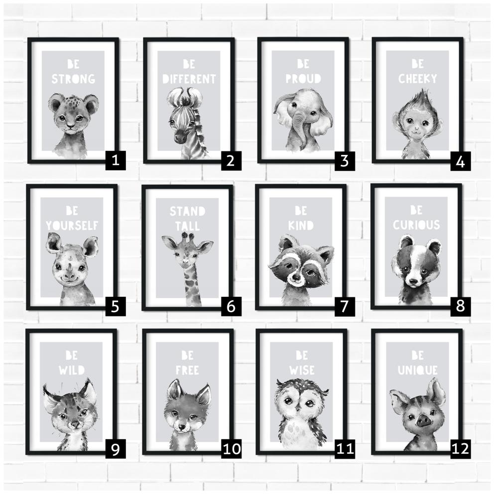 Gray Safari Animal Prints