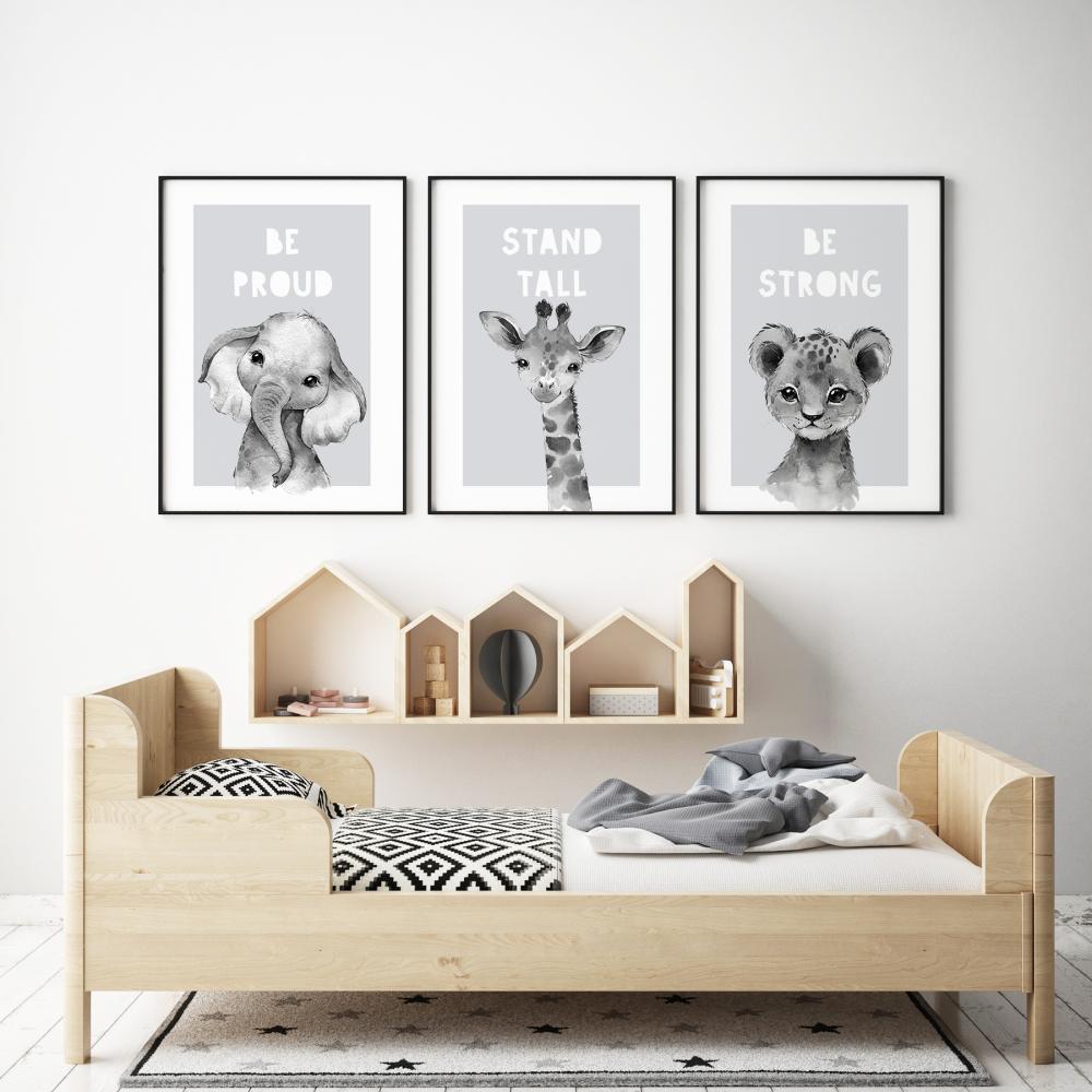 3pc Grey Safari Animals Prints