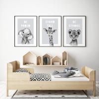3pc Grey Safari Animals Prints