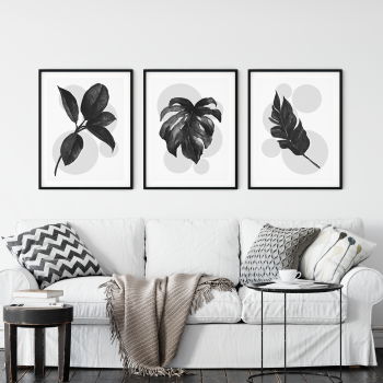 3pc Grey Leaf Print Set