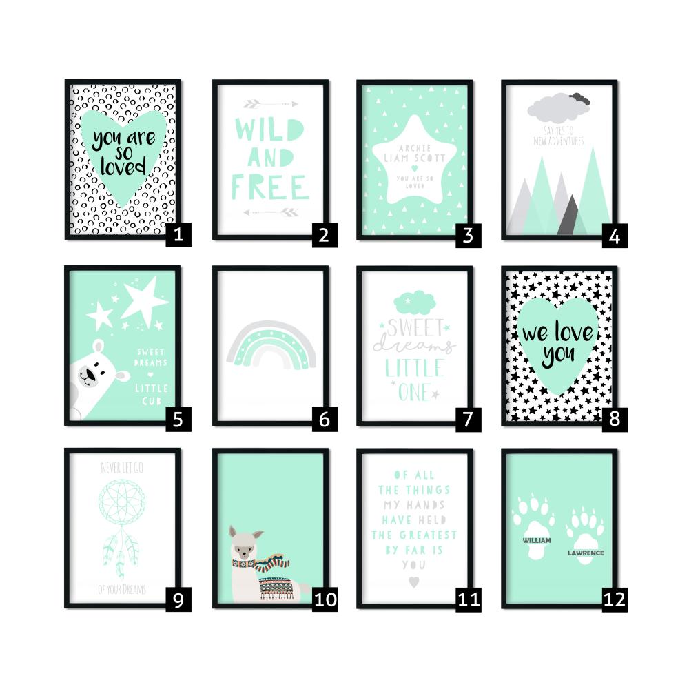 Mint Nursery Prints