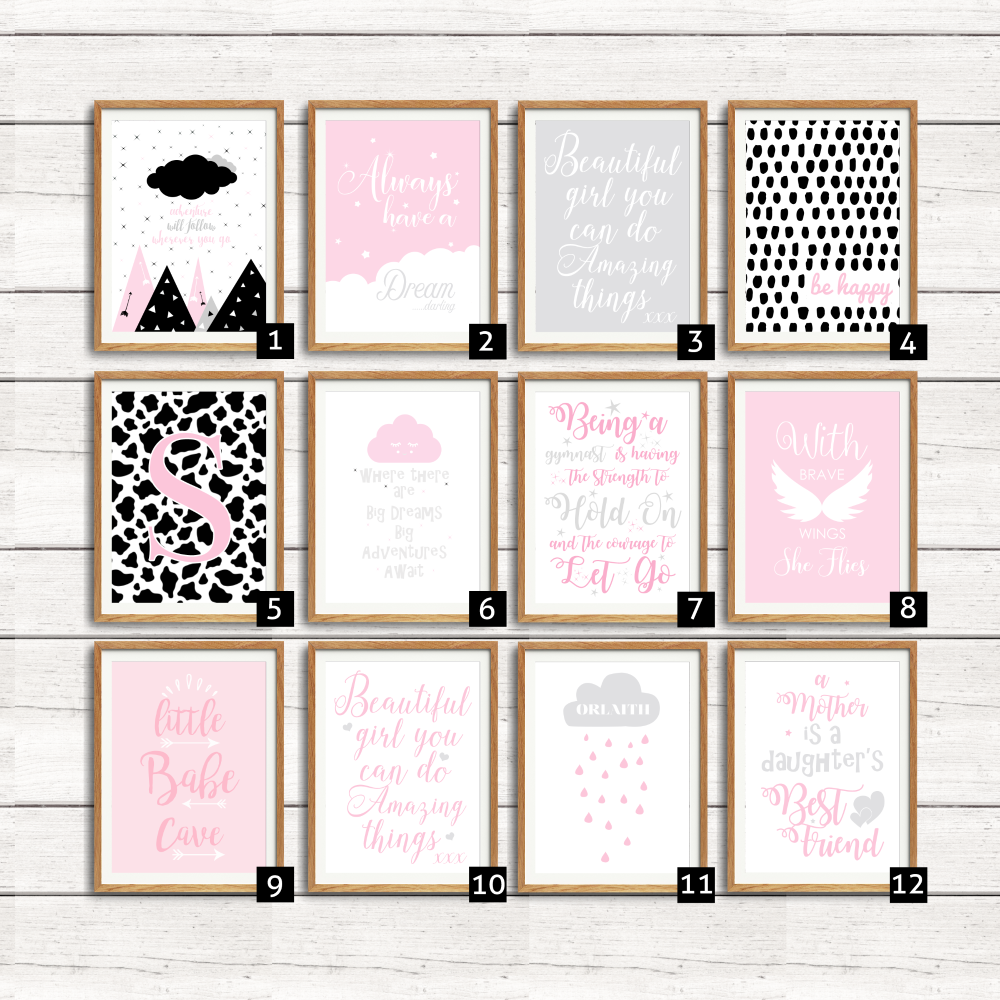 Baby Girl Wall Decor | Pink Nursery Quotes