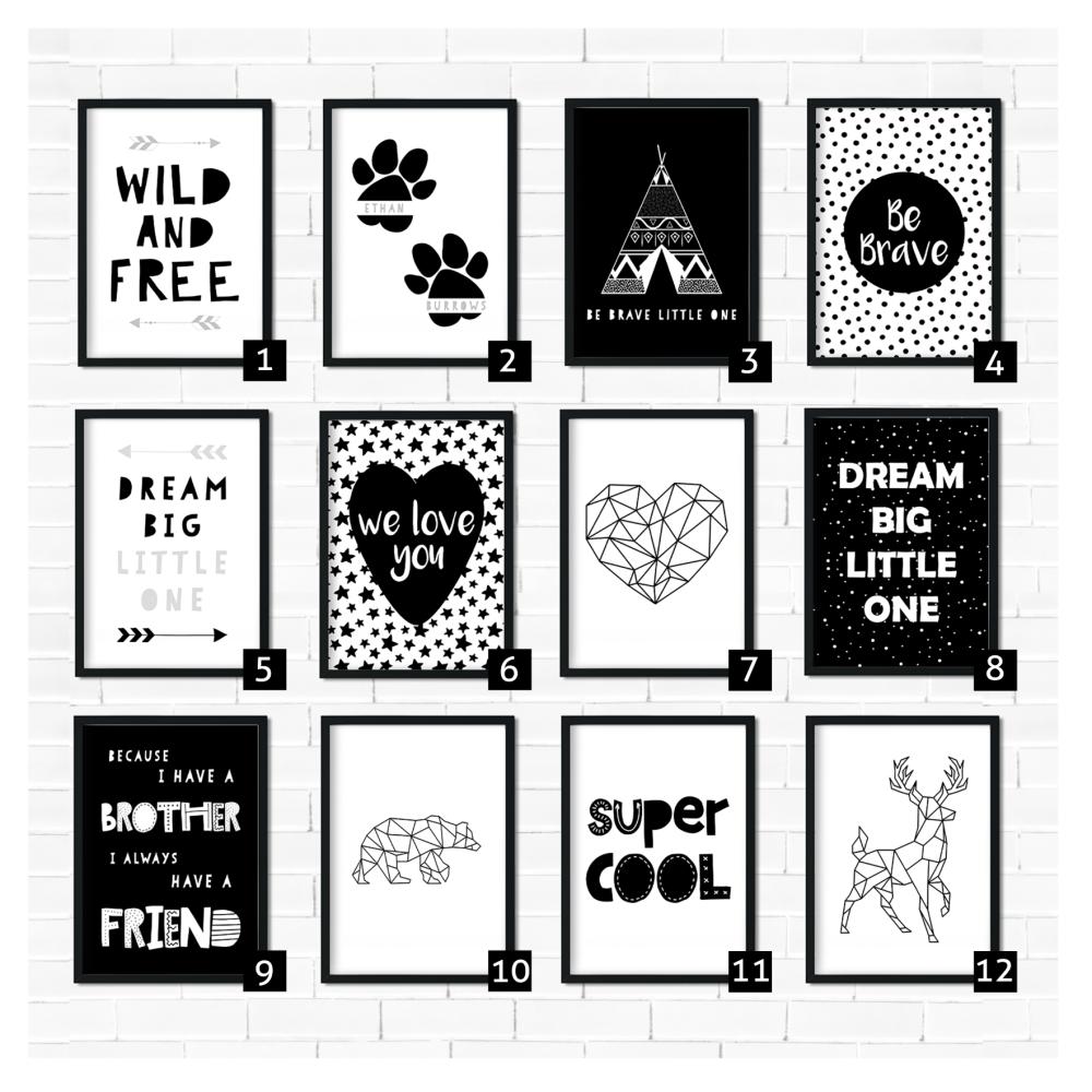 Kids Monochrome Nursery Prints