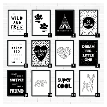 Kids Monochrome Nursery Prints
