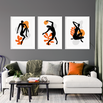 3pc Nude Silhouettes Orange Wall Art