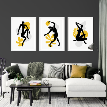 3pc Nude Silhouettes Yellow Wall Art