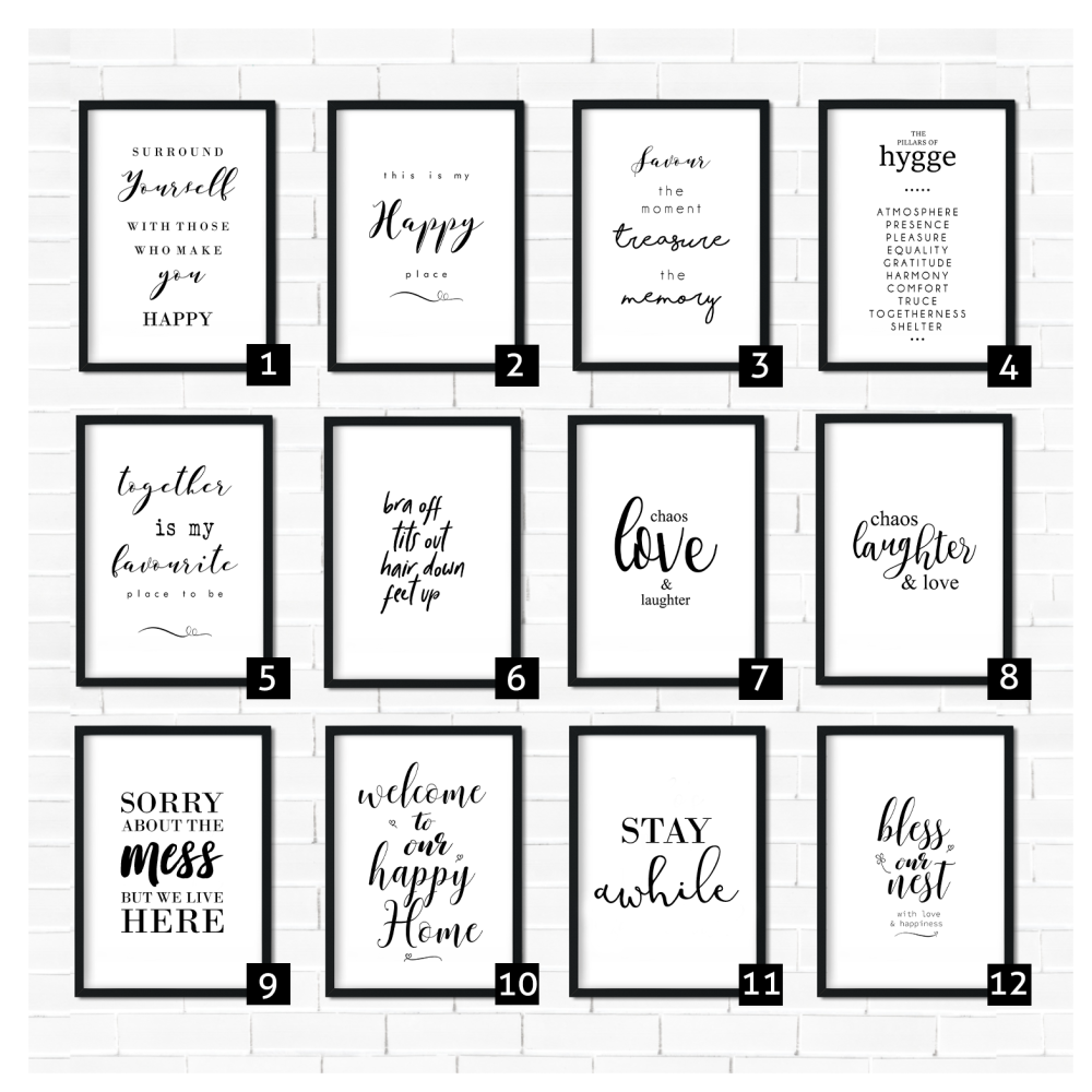Living room quote prints