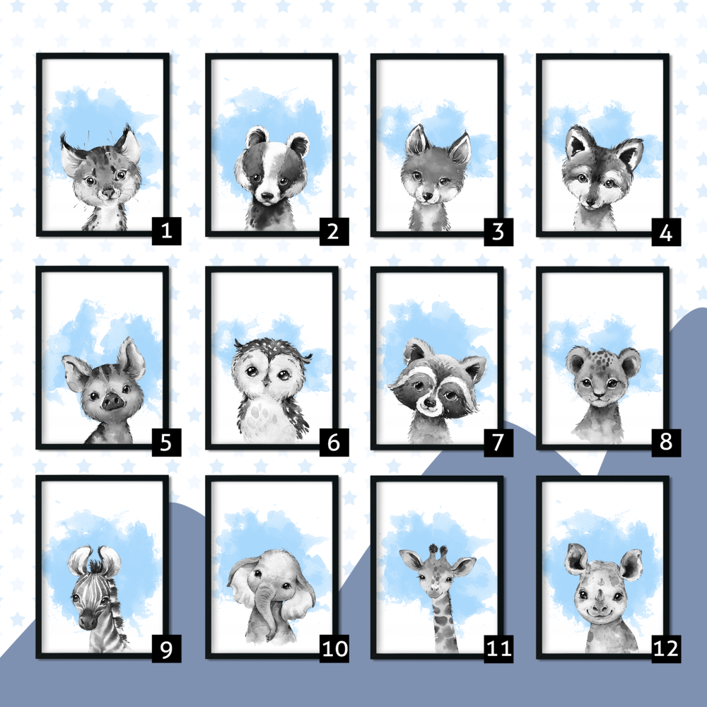 Blue Watecolour Nursery Animals