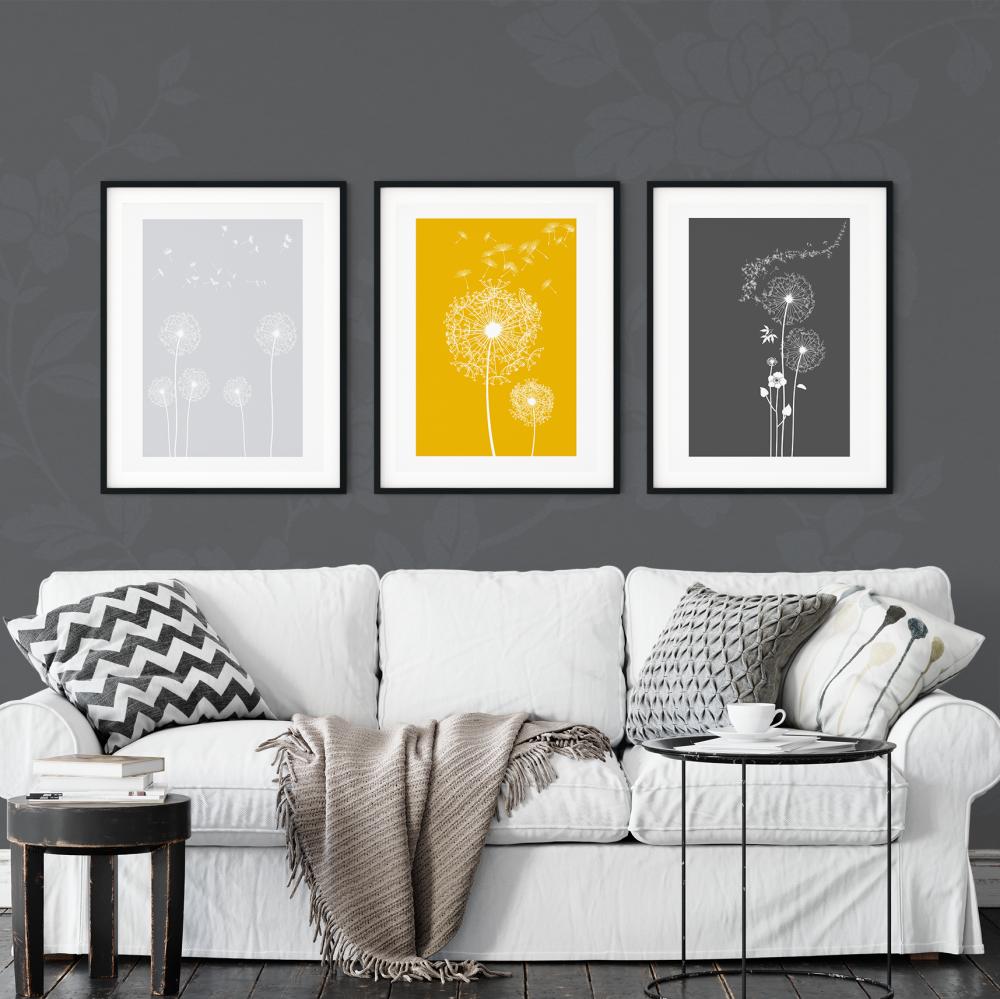 3pc Dandelion Mustard Wall Art Prints
