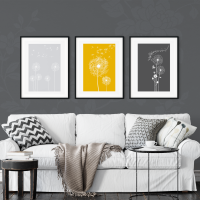3pc Dandelion Mustard Wall Art Prints
