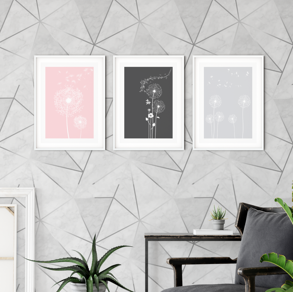 3pc Dandelion Pink and Grey Wall Art Prints
