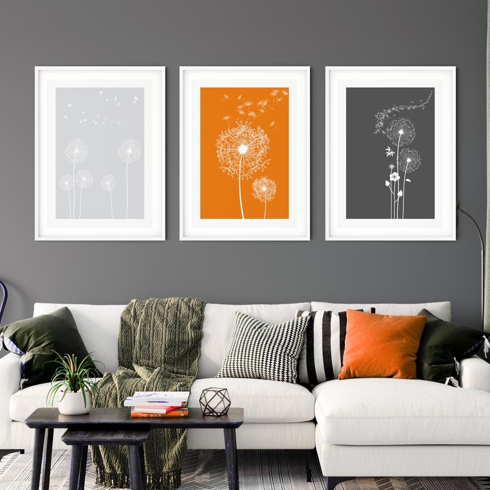 3pc Orange and Grey Dandelion Wall Art Prints