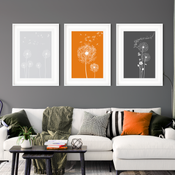 3pc Orange and Grey Dandelion Wall Art Prints