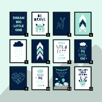 Mint and Navy Nursery Prints