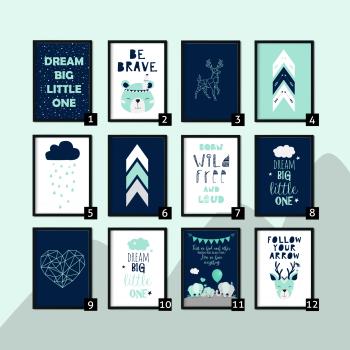 Mint and Navy Nursery Prints