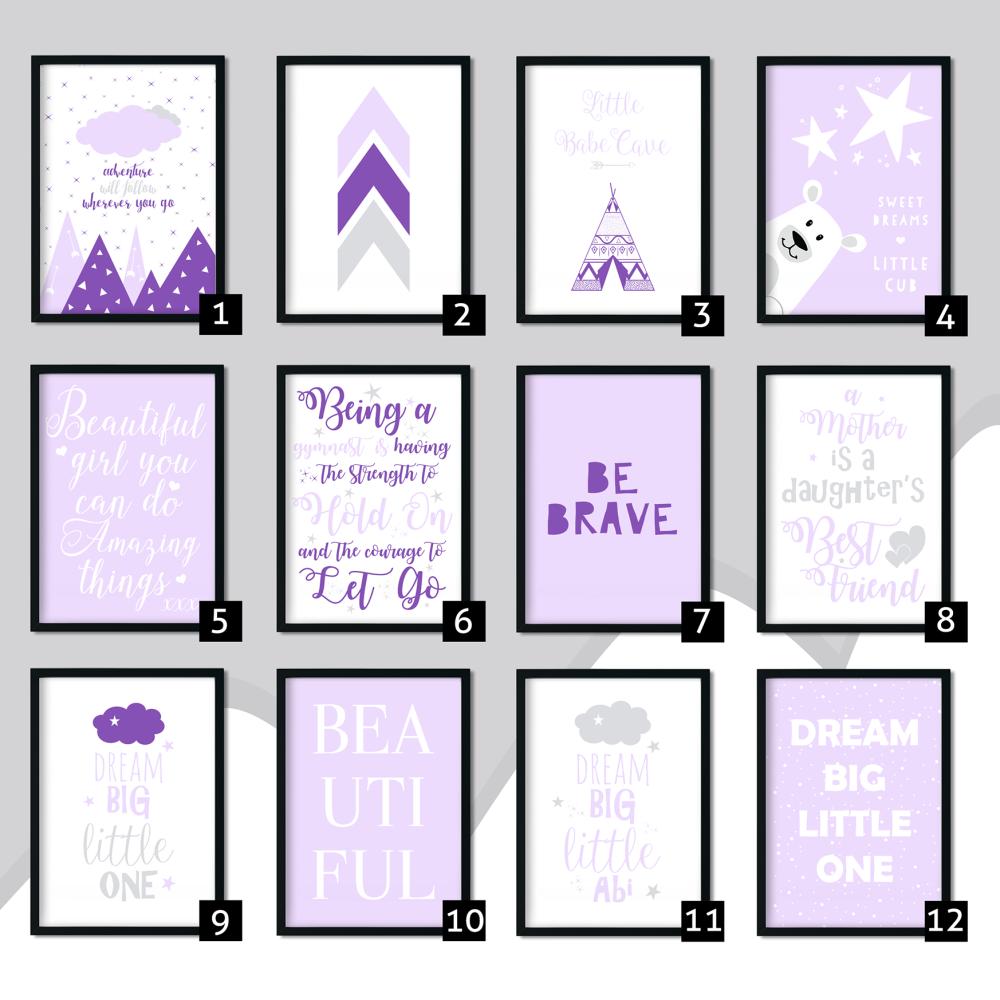 Purple Nursery Art Prints