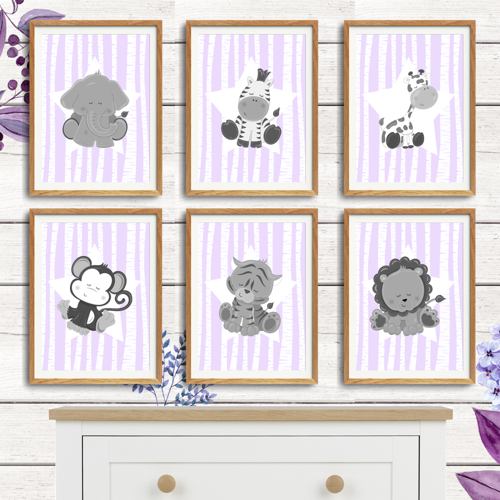 Baby Jungle Animals Nursery Prints
