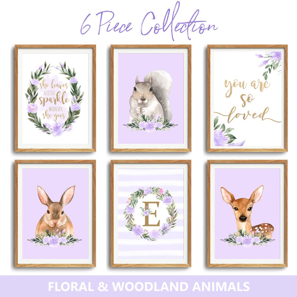 6pc Woodland Floral Nursery lilac Print set