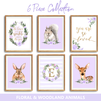 6pc Woodland Floral Nursery lilac Print set
