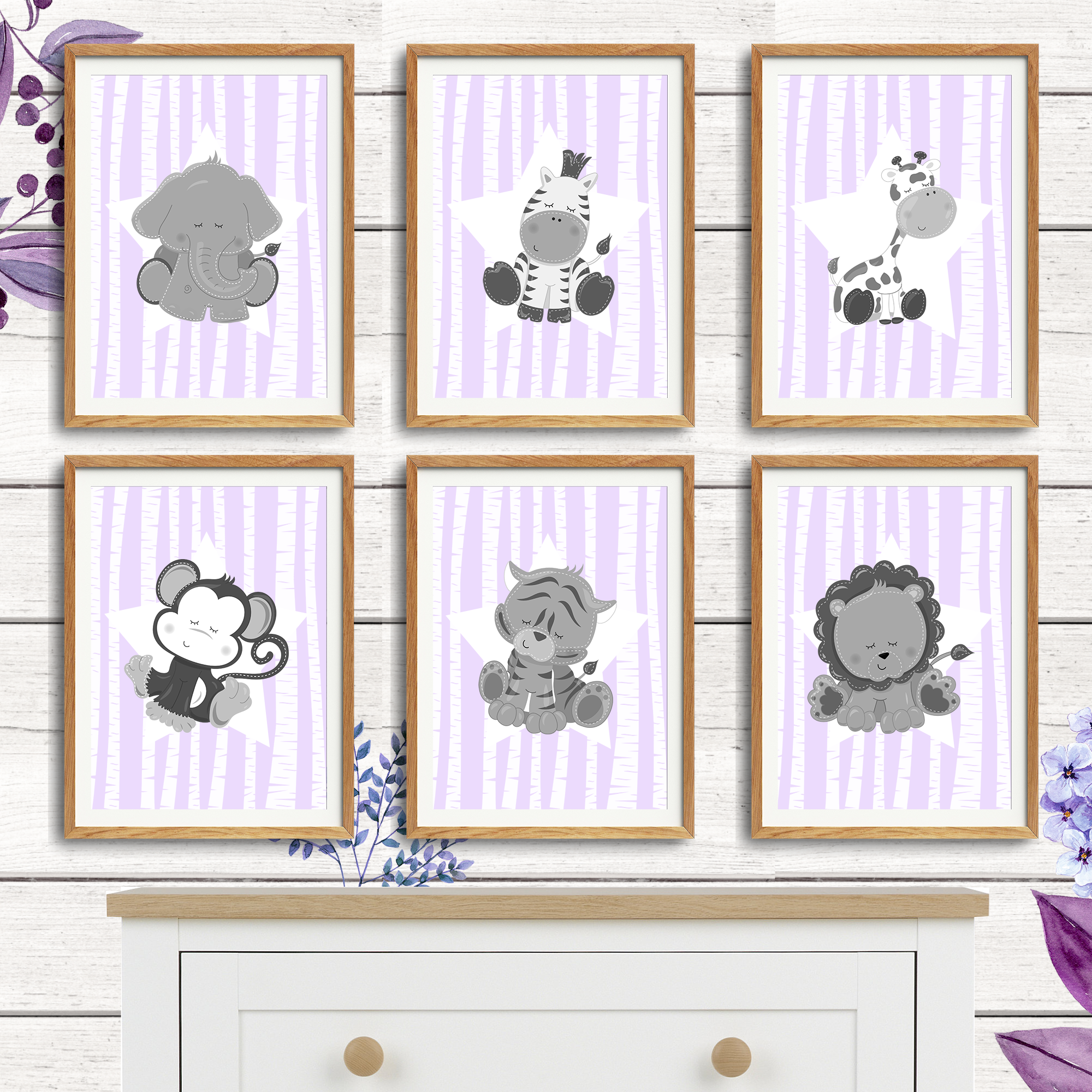 6pc lilac jungle animals prints